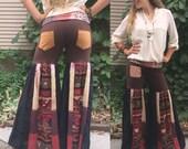 Eco  patchwork hooper Pants,Size L,hippie pants,flare pants, dance pants,festival pants,patchwork pants,wide leg pants,flower brown, Zasra