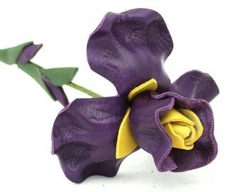 Leather flower purple iris Valentine's Day gift Mother's Day gift Wedding Third Anniversary Gift Long Stem Flower 3rd Leather Anniversary