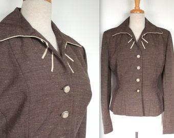 Vintage 1940s Blazer // 40s Lilli Ann Jacket // Designer Brown and Golden Yellow Flecked Tweed Jacket // Hourglass Tailored Blazer