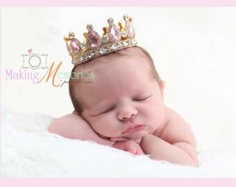 Rhinestone crown, Newborn crown , baby girl crown , pink crown , newborn photo crown , photo prop , girls crown, photo prop