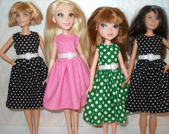 """Handmade 10.5"""" little sister fashion doll clothes -  polka dot dress with belt  - your choice black, pink or green"""