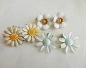 LOT of 3 Pretty Vintage White Enamel Flower Earrings