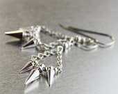 OUT OF TOWN - Petite Spikes Dangle Earrings - Small Metal Silver Stainless Steel Spiked Spiky Drop Earrings - Modern Metal Edgy Moto Spike