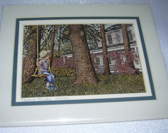 """Vintage Thelma Winter Triple Matted Print Titled """"Eric"""", Boy On Swing, Circa 1987"""