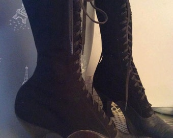 Victorian Edwardian High Top Tie Boots Black Suede And Leather Sterling Brand