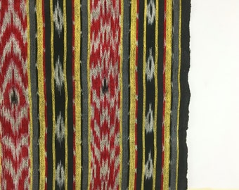Vintage Fabric / Ikat Fabric Ikat Print Hand Woven / Woven Ikat Fabric / Red Black Grey Gray Yellow