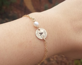 Personalized Bracelet,silver or gold monogram pearl initial bracelet,Wire Wrapped pearl,Bridesmaid gifts,bridal party jewelry