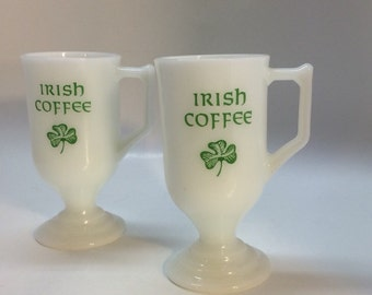 Vintage Irish Coffee mugs Milk Glass with shamrocks