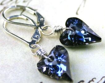 ON SALE Blue Hearts - Swarovski Wild Heart Crystal Earrings in Maliblu - Handmade with Sterling Silver and Swarovski Crystal