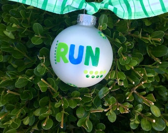 Run Ornament, Hand Painted, Personalized Christmas Ornament, FREE Personalizing, Love to Run, Running Race, Racing Ornament, Tree Bauble