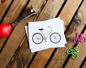 Bicycle Notecard #3 - Beach Cruiser (stationery, blank interior, thank you, thinking of you, friendship)