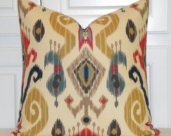 BOTH SIDES - Decorative Pillow Cover - Red - Teal - Orange - Navy - Brown - IKAT - Cushion Cover - Sofa Pillow