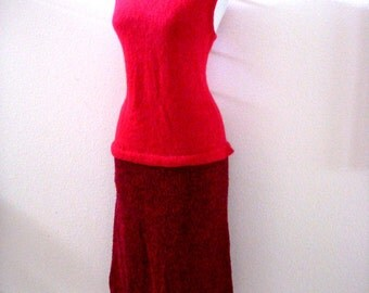 Vintage 70s 80s Red Knit Dress - Red Boucle Knit Dress - Sleeveless Red Dress with Talon Zipper - Size Medium estimated