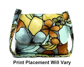 Earthtone Floral Messenger Bag for Women, Medium Crossbody Purse, Fabric Pocketbook, Cotton Handbag, Brown, Blue and Yellow Cross Body Bag