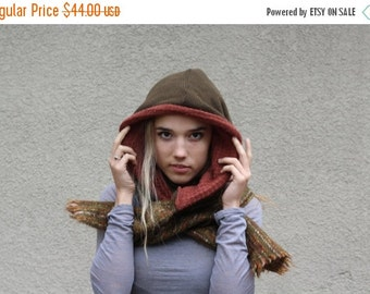 CLEARANCE SALE Handmade Upcycled Recycled Repurposed Sweater Hooded Scarf Olive Green Rust Fall Winter Fashion Hipster Boho Hippie Woodland