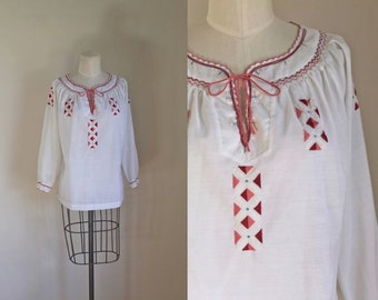 vintage 1970s peasant blouse - LILY hand embroidered boho top / L-XL