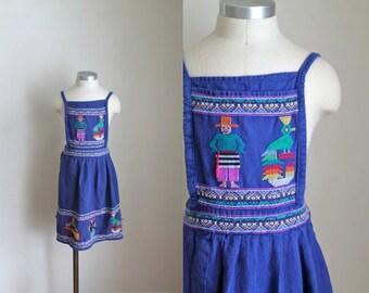 vintage 1970s bibbed apron - GUATEMALAN royal blue woven bib apron /adult or child