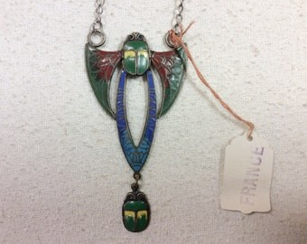 1920s Deadstock Egyptian Revival Blue and Yellow Scarab Necklace with Wings, Hand Painted Enamel Scarab Jewelry