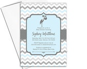 Stork baby shower invitations for boys in blue and gray   unique baby shower invites   printable or printed - WLP00857