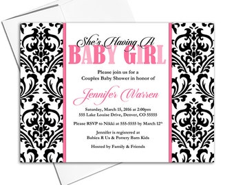 Damask Baby Shower Invite Girls - Black and Hot Pink - Couples Shower Invitations - DIY Printable - WLP00704