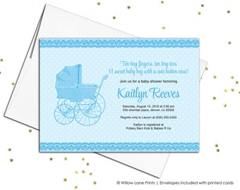 Printable baby shower invitations for boys - blue - vintage baby carriage - lace - printed baby shower invitations (727)