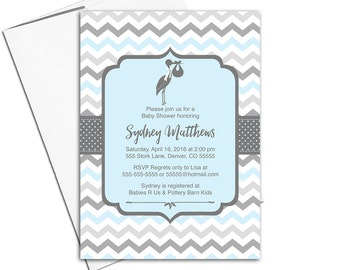 Printable baby boy shower invitations for boys in blue and gray   unique baby shower invites - WLP00857