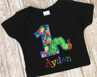 Very Hungry Caterpillar Embroidery Applique Shirt