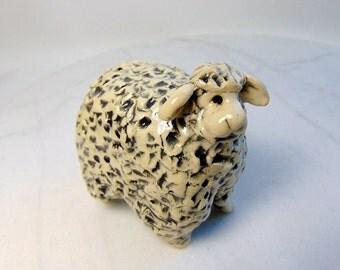 Sheep Sculpture -  Pottery Animal - Hand Built Animal  Nativity Animal Sculpture - Lamb Figurine - Farm Animal - Pinch Pot Sculpture