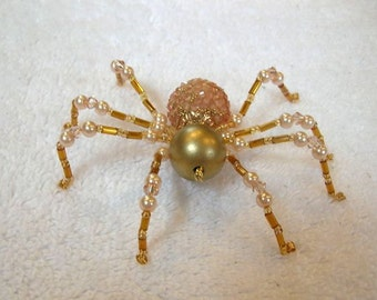 Beaded Spider Decoration in Golden Peach - Halloween Ornament, Christmas Spider