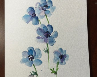 Blue Anemone Watercolor Card / Hand Painted Watercolor Card
