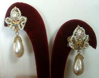 Vintage Miriam Haskell Earrings Tear Drop Large Baroque Pearl & Rhinestone Drop Dangle Chandelier Original Hand Beaded Clip On