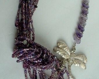 Retro Vintage Dragonfly Purple Beaded Multi Strand Necklace