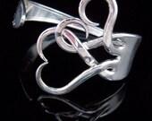 Eco Friendly Jewelry, Silver Wedding, Eco Wedding Jewelry, Bridesmaid Bracelet, Fork Bracelet in Original Intertwining Hearts Design