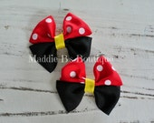 Red Yellow Black Minnie Mouse hair bows-polka dot Disney bows-Made by Maddie B's Boutique on Etsy