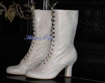 Victorian White Shoes Bridal white Glitter Victorian Boots Lace up White Glitter Ankle Boots Custom bridal shoes