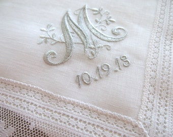 White Irish Linen Daisy Design Lace Handkerchief with Floral Design 1-Intial Monogram and Date
