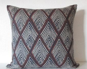 ON SALE Rhombi Forms Indigo geometric blue brown decorative pillow cover