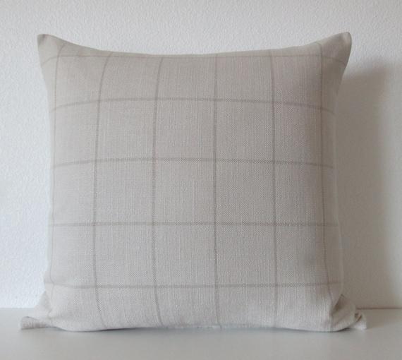 Decorative Pillows Neutral : Neutral plaid stripe 20x20 decorative pillow cover