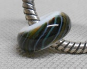 Large Hole European Style White with Multi Colored Twistie Stripe Glass Lampwork Bead