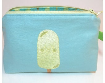 Popsicle cosmetic toiletries makeup storage bag pouch embroidered laminated cotton lining popsicles-and-ice-cream