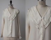Vintage White Blouse with Exaggerated Collar Romantic 70s Prairie Satin Ribbon Trim L