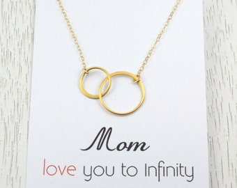 New! Mother's Birthday Gift/Mother Daughter Necklace/Gold Infinity Jewelry/Eternity Love Necklace/Gift for Her/Gold Or Silver/ Message Card