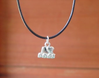 I love Dongs Charm Pendant with Black Cord,Dogs Lovers Jewelry