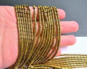 Hematite Gold - 5mm tube beads - 1 full strand - 80 beads - AA quality - PHG190