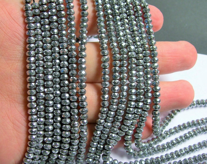 Hematite Silver - 3x4mm faceted rondelle beads - full strand - 135 beads - A quality - PHG203