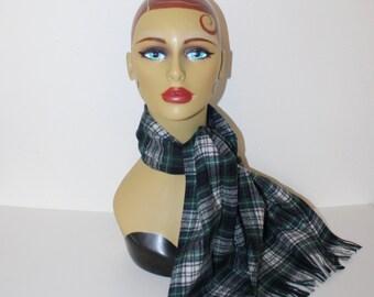 Vintage Pendleton Wool Scarf . Scottish Green Blue Campbell Dress Tartan Plaid . Quality Virgin Wool Winter Scarf . Fringe