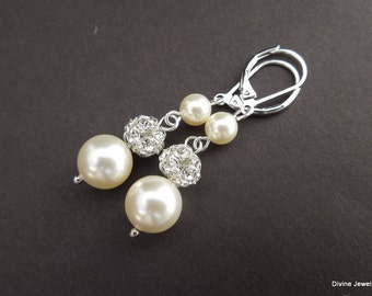 Ivory swarovski Pearl Earrings Bridal rhinestone Earrings Bridal stud Earrings swarovski pearl Wedding Pearl Earrings vintage style CLAIRE
