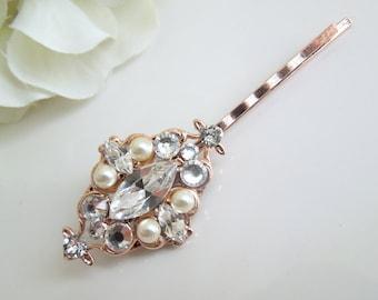 Pearl Hair Pin,Bridal Hair Pin,Rose Gold Hair Pin,Pearl Rhinestone Hair Pin,Bridal Pearl Hair Pin,Bridal Rhinestone Hair Pin,Pearl,GABY