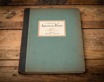 Treasury of American Prints Book, 100 Framable Etchings, Vintage 30s