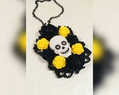 GHOULY GIRL-Glitter Skull Rose Cabochon Yellow And Black Rectangle Filigree Pendant Necklace
